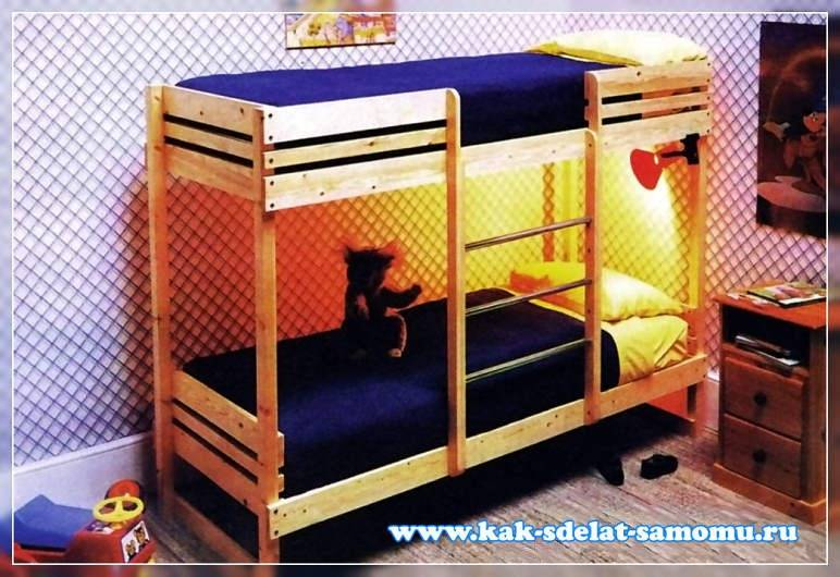 Двухъярусная кроватка для кукол своими руками из дерева 77